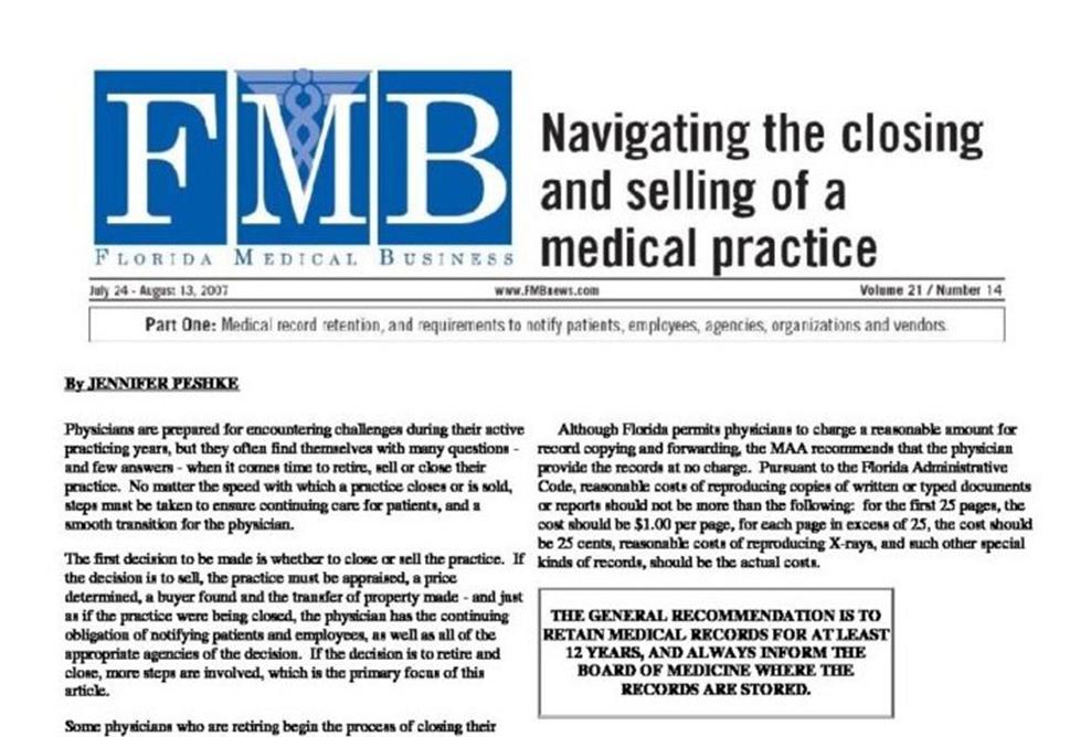 Physician Practice Closure Article by Jennifer Peshke