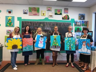 For our 2018 holiday party we decided to get creative and did a painting party!