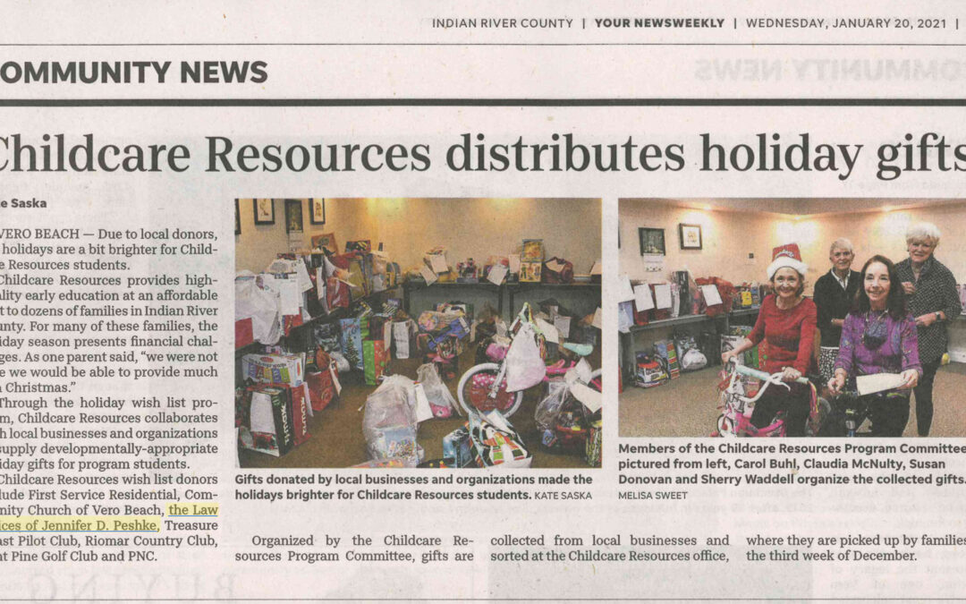 The Law Offices of Jennifer Peshke is happy to give back to the local community